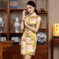 Handmade Button Chinese Style Lady Summer Dress Women S Cotton Short Cheongsam Sexy Mini Tight Qipao