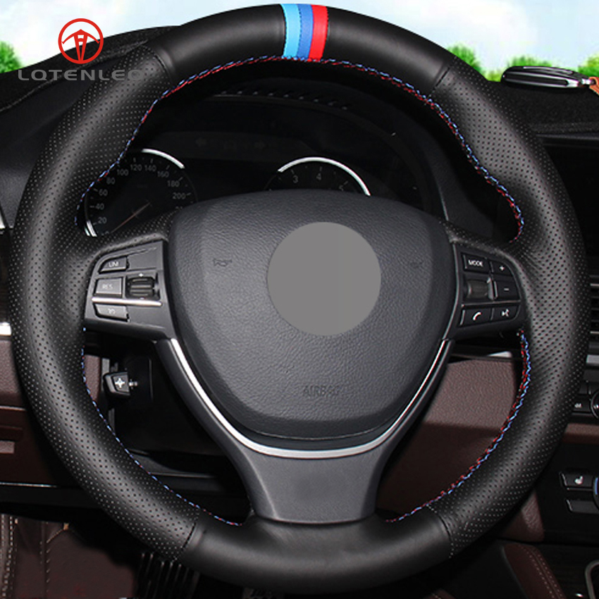 LQTENLEO Black Genuine Leather DIY Hand stitched Car Steering Wheel Cover for BMW F10 2014 520i