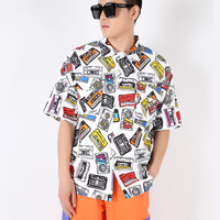 M XXL! Retro fashion tape printing loose shirt hip hop short sleeved shirt tooling shirt tide male country tide.