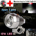 Super Bright 12W Chrome Motorcycle 3 LED Light Headlight Driving Fog Spot Work Headlamp Head Night Safety Lamp With Switch