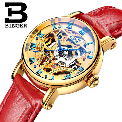 ФОТО Binger Lady Women's Watch Hours Japan Automatic Fashion Hollow Watches Dress Bracelet Red Leather Luxury Wristwatch Gifts