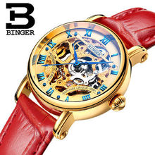 Бингер Леди женские Часы Часы Японии Автоматический Мода Полые Часы Платье Браслет Красный Кожаный Роскошные Наручные Часы Подарки
