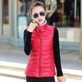 2016 outono e inverno de algodão colete feminino colete todos os coincidir com cor sólida gola projeto curto Para Baixo algodão colete colete feminino