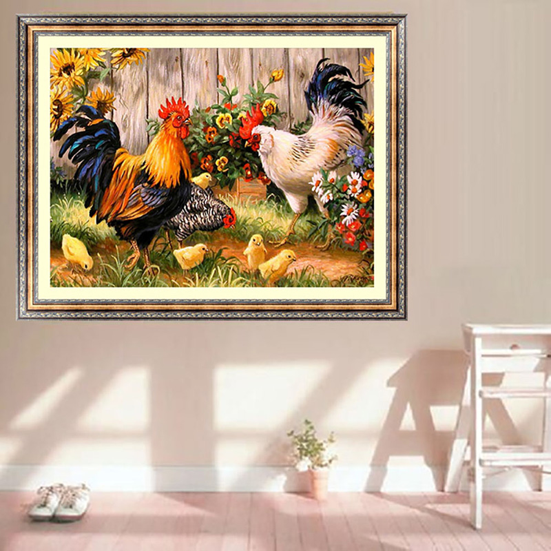 For 5d 5d diamond painting farm chicken for Home decor 5d
