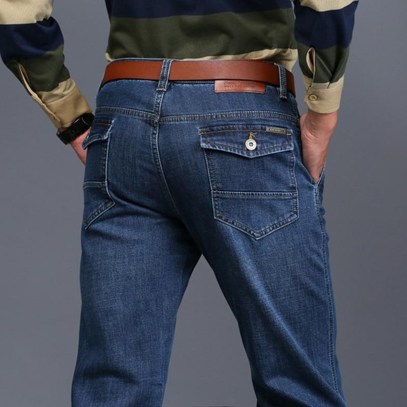 2017 Autumn Winter Cargo Jeans Men Casual Denim Biker Jeans Military Style Stretch Multi Pockets Men's Clothes 618