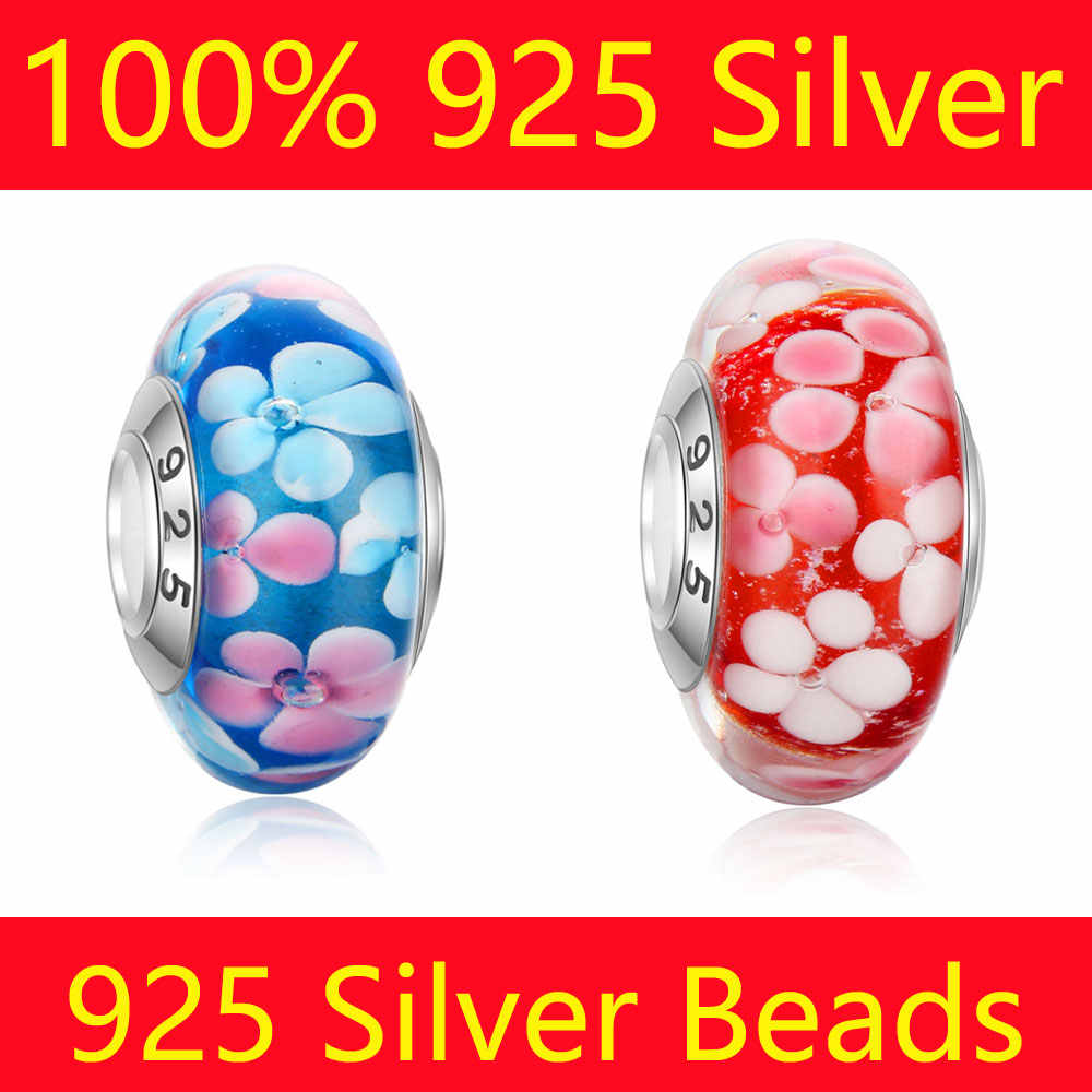 100% S925 Sterling Silver Glass Beads Stamped 925 Wholesale Beautiful Flowers Lampwork Murona Glass Big Hole European Beads