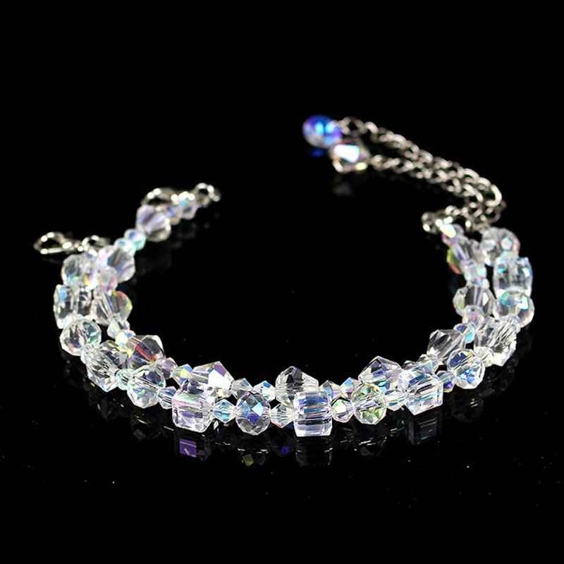 Сверкающие кристаллы Авроры звено цепи стрейч браслет для женщин модные ювелирные изделия подарок