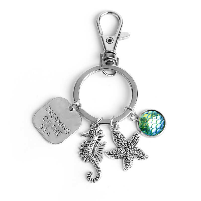 HANCHANG Jewelry Dream Of The Sea Starfish Seahorse Keyring Keychain Mermaid Scale Pendant Keychain Sea Dream Women Holiday Gift