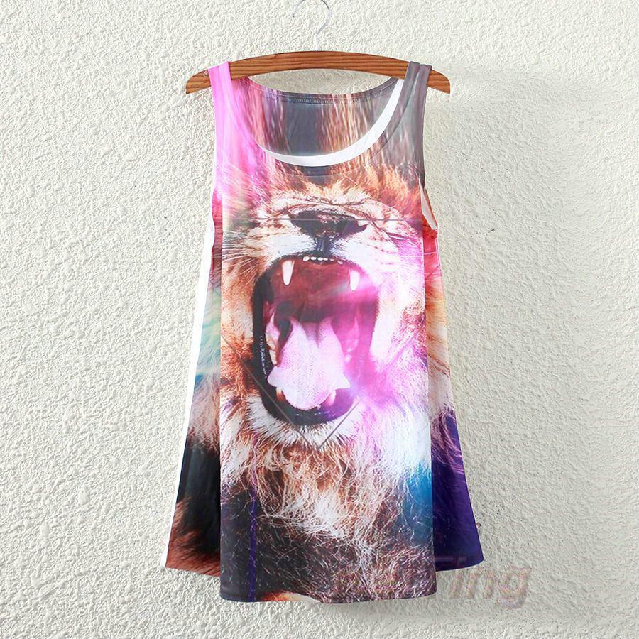 Новинка, модная винтажная весенне-Летняя женская футболка без рукавов с принтом животных, лошади, Льва, любви, футболки, блузки, Майки - Цвет: TPBX025
