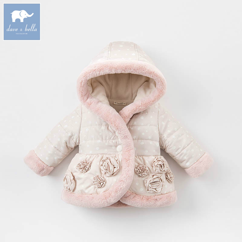 DBZ6517 dave bella winter baby girl Jackets toddler Hooded outerwear children hight quality padding coat girl jackets coat for winter baby girl down