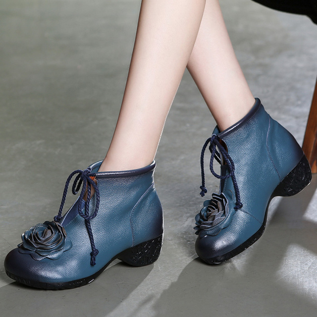 Handmade Genuine Leather Flower Low Heel Ankle Boots