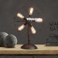 Американский страны вентилятор Настольные лампы Винтаж новизны промышленного вентилятор Настольный светильники Светильник дома фойе Спа