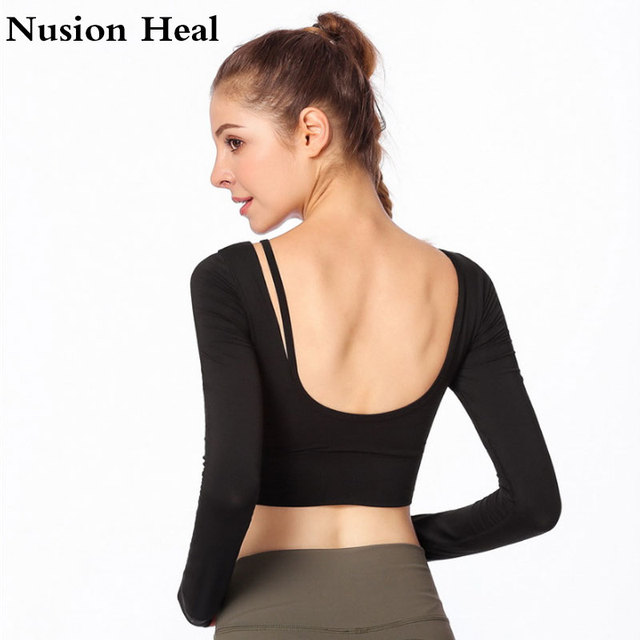 08b5ac7bf5b Drop Sexy Ombre Crop Top Yoga Shirts for Women Long Sleeve Workout Top Gym  Shirts with