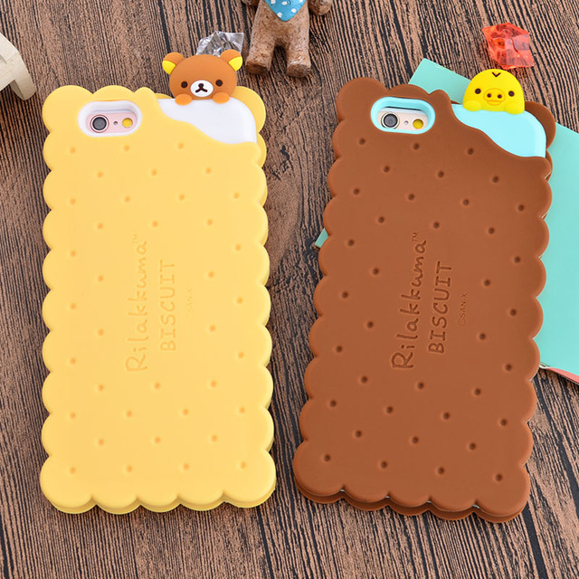 check out 82434 50f7b US $7.29 |For iphone 7 phone cases Cute 3D Rilakkuma Bear Biscuits Soft  Silicone Case For iPhone 7 7Plus Cartoon phone case on Aliexpress.com | ...