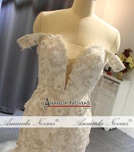 Image 2 - Off the shoulder straps africa mermaid wedding dress bridal dress fishtail