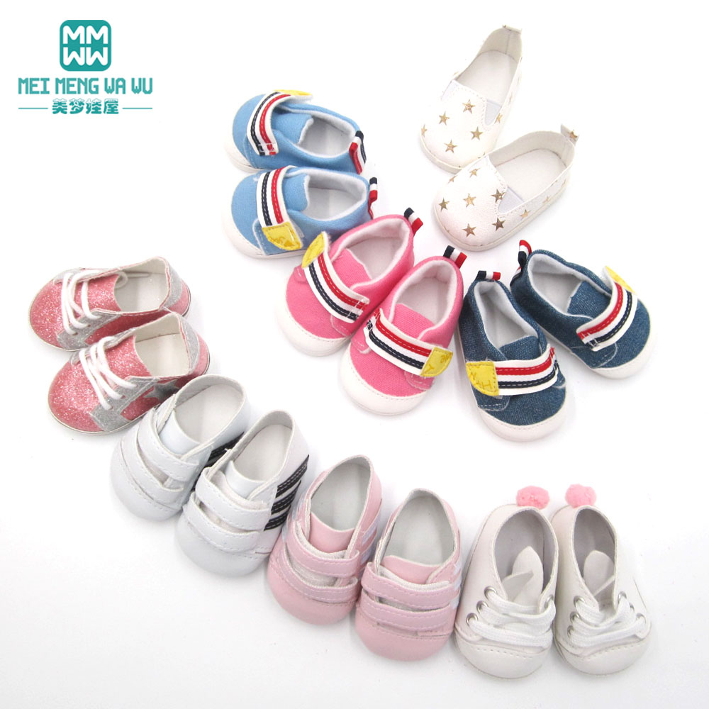 Variety Of Fashion 7cm Mini Sneakers Shoes For Doll Fit 43 Cm Baby New Born Doll And American Doll Accessories