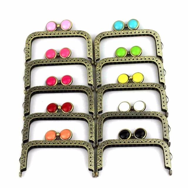 10 pcs/lot 8.5 cm square antique bronze flat bead metal purse frame Kiss clasp bag accessory 10 colors