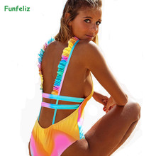 Funfeliz Sexy One Piece Swimsuit Women 2018 Summer Beachwear Ruffle Shoulder Swimwear Female Bathing Suits Monokini