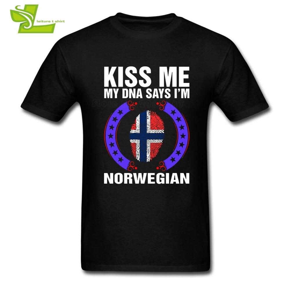Kiss Me My DNA Says I Am Norwegian T Shirt Fingerprint Flag Men's Summer Tees Norway Male New Coming Big Top Teenboys Tee Shirts