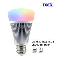 BSOD Smart Led Bulb DMX512 Milight FUTD03 8W RGB CCT Led Light Lamp Wireless RF2.4GHz E27 Base for Party KTV Lighting