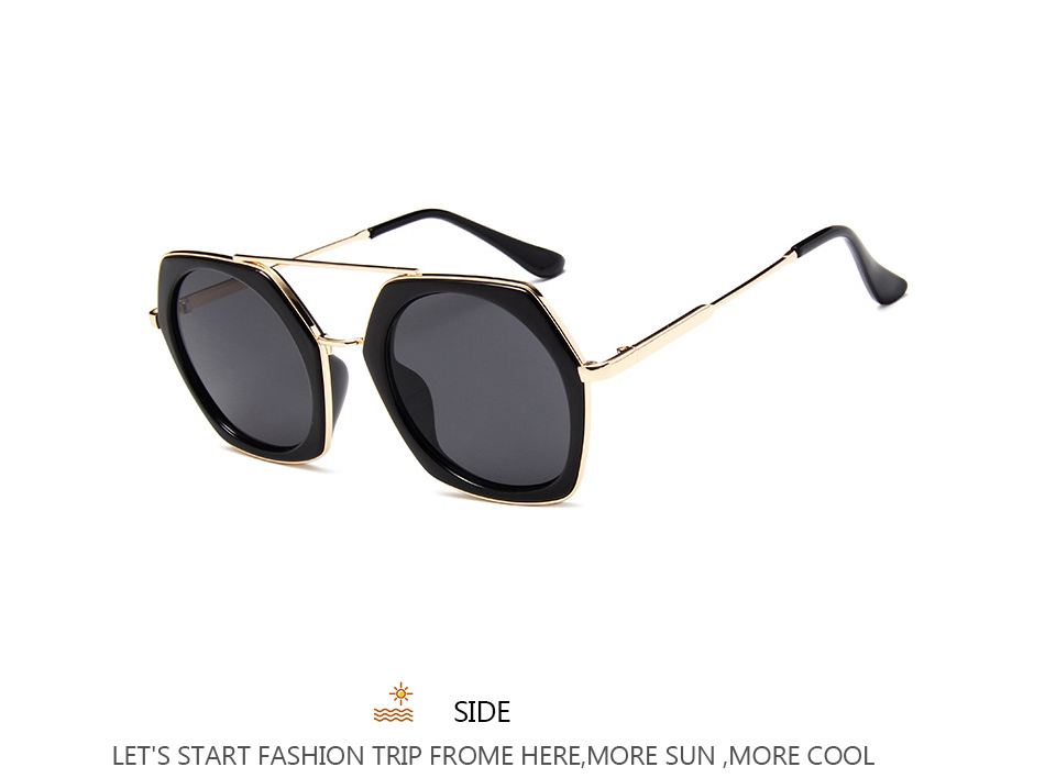 99d2b93d26a2e6 Mode Femmes lunettes de Soleil Irrégulière Forme Lunettes À Double ...