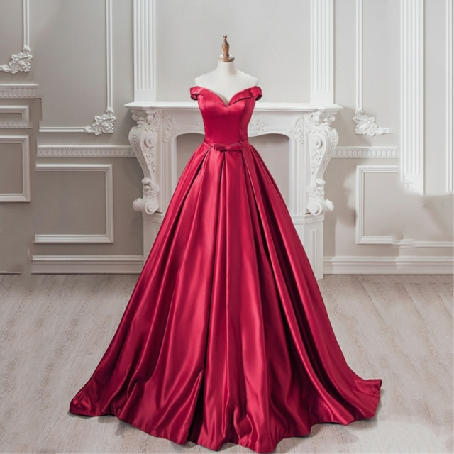 8536b9ba0c3 Prom dress 2019 New Arrival Long Prom Dresses Satin Ball Gown sweetheart  Neck short Sleeve Custom made Evening Gowns