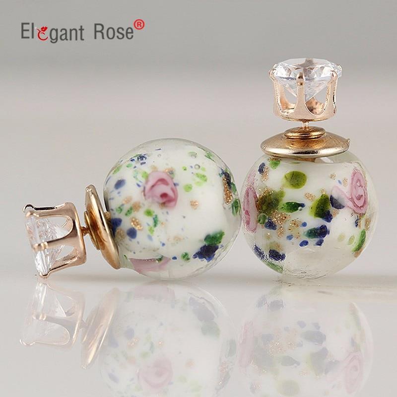 Wholesale !!! fashion earrings aros double sided earrings 3 colors crystal Stud earings for women E1525-E1527