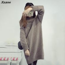 Autumn turtleneck long knitted sweater dress women Autumn winter Pullover Dress female Sweater warm Knitwear Dress Sweater Xnxee female autumn winter dress 2017 turtleneck long knitted sweater vestidos women slim bodycon dress casual pullover ws4716c