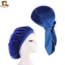 2pcs/lot hot sale Velvet Durag and Bonnet Set Women Sleep Cap drop shipping