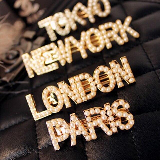 Clips de pelo de Metal de letras de perlas coreanas para mujeres niñas Nueva York París Londres Milan declaración Barrettes perla accesorios para el cabello