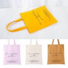 Letter printed canvas shopping bag large capacity green handbag cotton shoulder bag student personality cotton tote bag