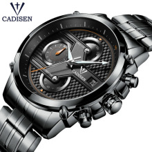 CADISEN Top Brand Pilot Military Sports Quartz Watch Fashion Business Men Stainless Steel Wrist Watches Relogio Masculino Clock