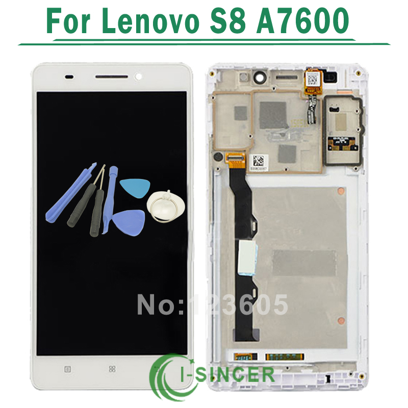 Black/White LCD Display + Touch Screen Digitizer Assembly with Frame For Lenovo S8 A7600 A7600M A7600-M Phone Parts + Tools top quality lcd screen display touch digitizer assembly with frame for htc one m9 phone repair parts white gold black