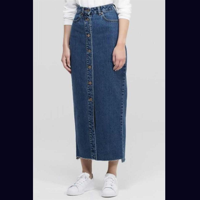 プラスサイズアバヤドバイイスラム教徒女性ロングデニムスカートトルコイスラムカジュアルジーンズボディコンマキシスカート IOW 段 本日の割引 7