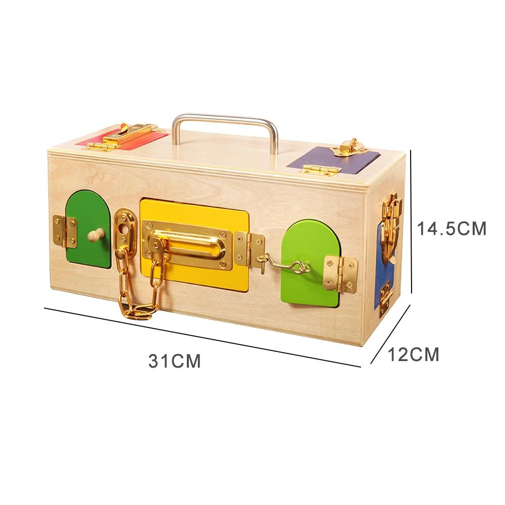 Jouets Montessori en bois petite boîte de verrouillage 3 ans jouets éducatifs en bois sensoriels pour enfants formation Montessori jeux de matériaux - 6