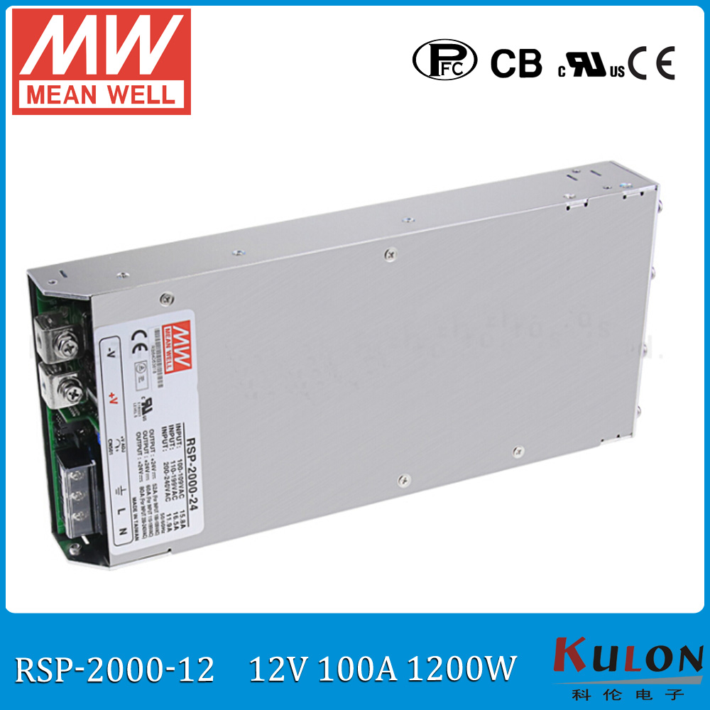 Original MEAN WELL RSP-2000-12 1200W 100A 12V voltage trimmable meanwell Power Supply with PFC in Parallel connection original mean well rsp 2400 12 2000w 160a 12v voltage trimmable meanwell power supply 12v 2000w with pfc in parallel connection