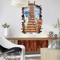 3D Creative Scaling Ladder In The Sky Design For Bedroom And Sitting Room Removable Vinyl Decals