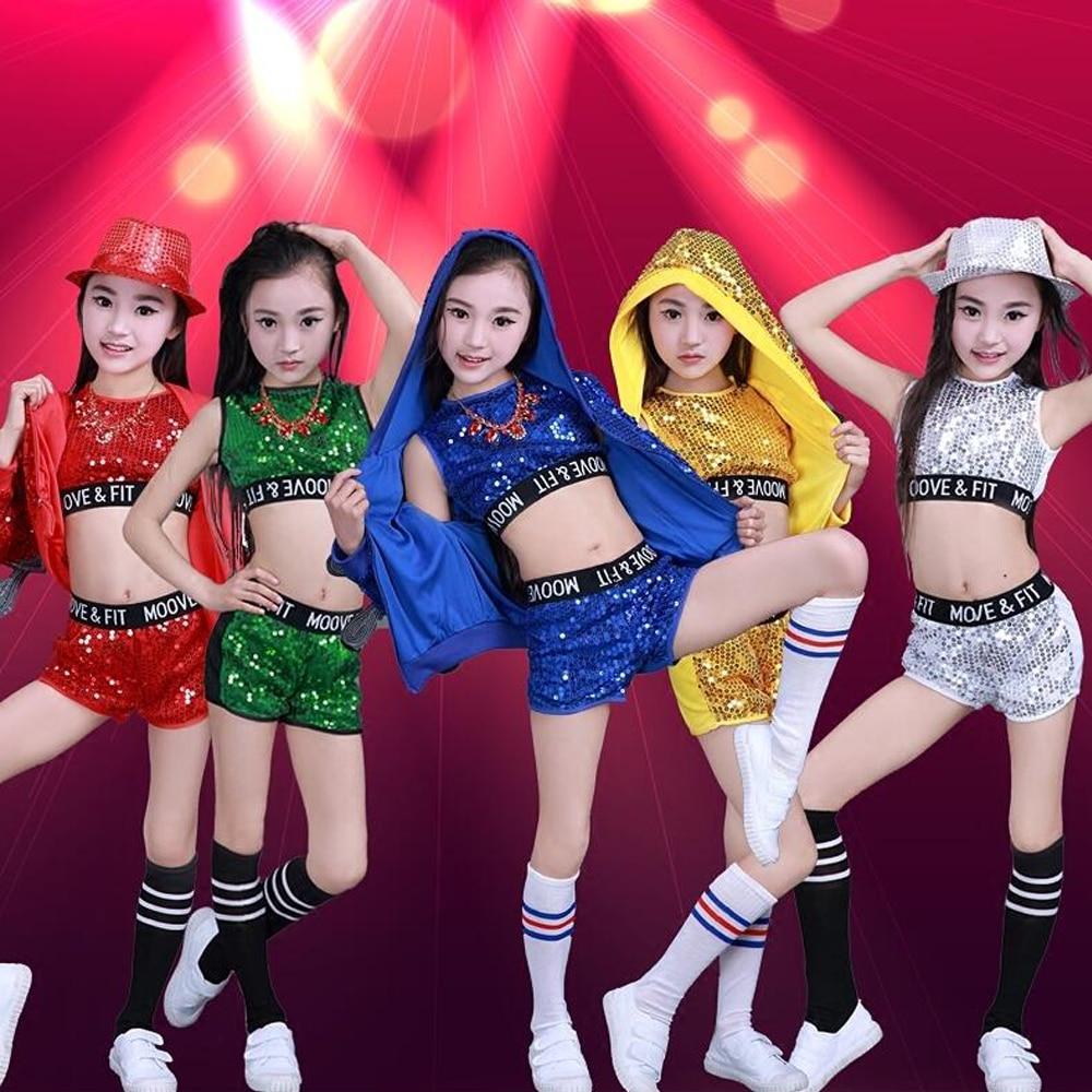 4c097f547 3 pieces Children Jazz Dance Costumes Girls Street Dance Sequined Party Show  Clothes Modern Child hip