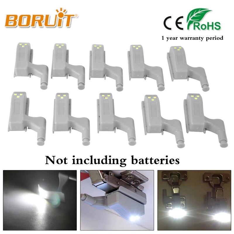 BORUIT 10Pcs 0.25W Inner Hinge LED Sensor Light For Kitchen Bedroom Living room Cabinet Cupboard Closet Wardrobe Night Lights