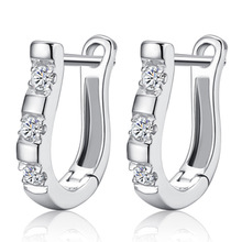 100% 925 sterling silver high quality shiny crystal female stud earrings jewelry women Anti allergy drop shipping cheap gift
