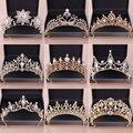 Тиары и короны винтажные женские, свадебные украшения для волос с искусственным жемчугом и кристаллами, Ювелирное Украшение для волос, коро...