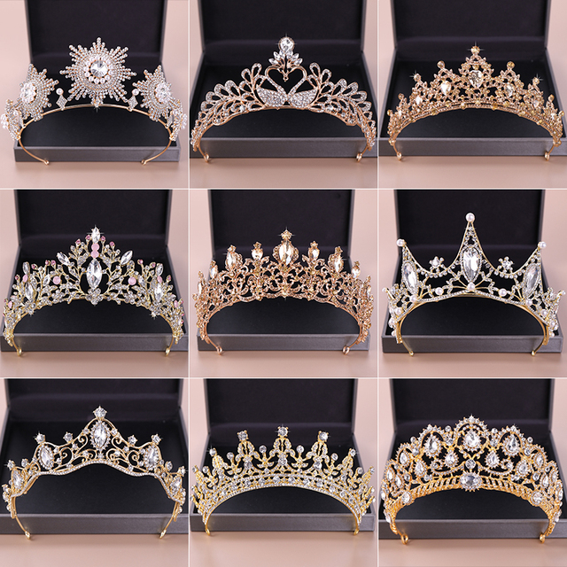 Vintage Queen Princess Tiaras And Crowns Wedding Bridal Diadem Hair Ornaments For Women Gold Pearls Crystal Hair Jewelry Pageant