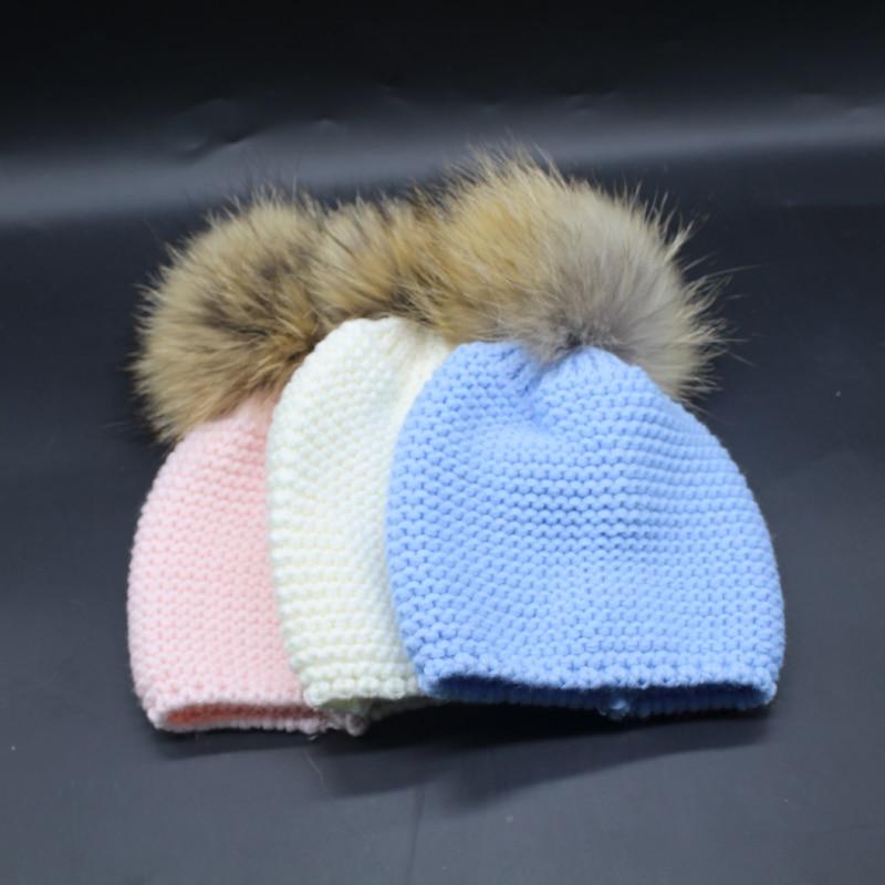 Kinder Winter Nerz Mützen Für Kinder Echte Waschbärpelz Pompon - Bekleidungszubehör - Foto 5