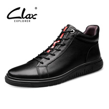 CLAX Mens Winter Shoes Plush Fur Warm 2019 Leather Boots Male Casual Snow Shoe Genuine Walking Footwear Soft