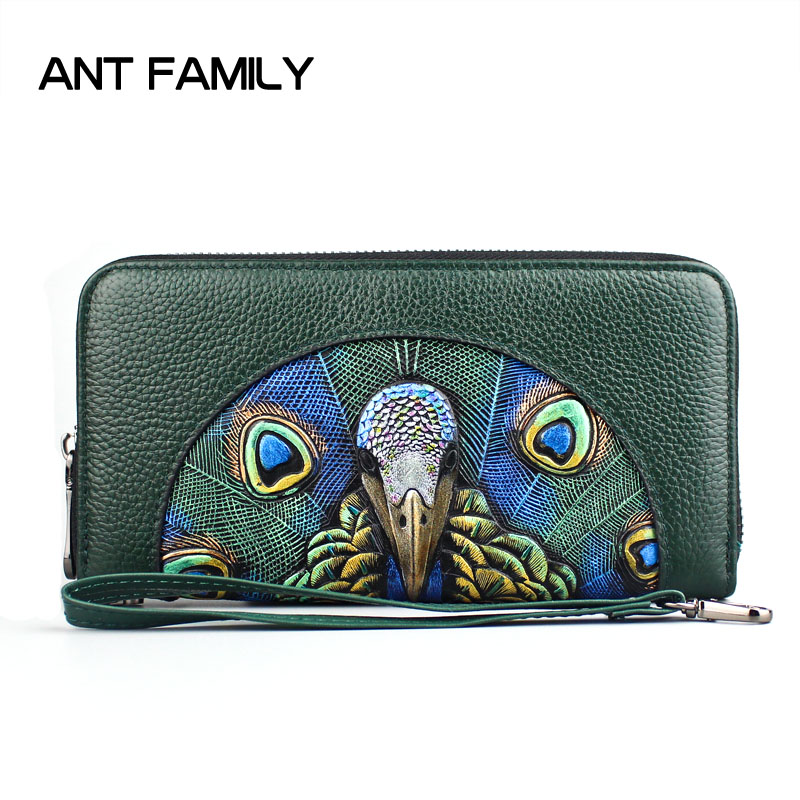 3D Embossing Fashion Genuine Leather Women Wallet Long Zipper Wallets 2018 Ladies Luxury Coin Purse Female Clutch Peacock Wallet contact s new fashion women wallet long design clutch wallets genuine leather female wallet zipper