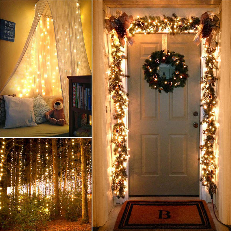 Image 3 - 72ft 22M 200 LED Solar Strip Light Home Garden Copper Wire Light String Fairy Outdoor Solar Powered Christmas Party Decor-in LED String from Lights & Lighting on