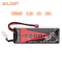 GOLDBAT 7200mAh LiPo Battery for RC 2S 50C LiPo 7.4V with Deans T Plug for RC Car Vehicle Truck Tank Losi Traxxas Slash Truggy