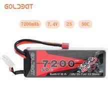 GOLDBAT 7200mAh LiPo Battery for RC 2S 50C LiPo 7.4V with Deans T Plug for RC Car Vehicle Truck Tank Losi Traxxas Slash Truggy