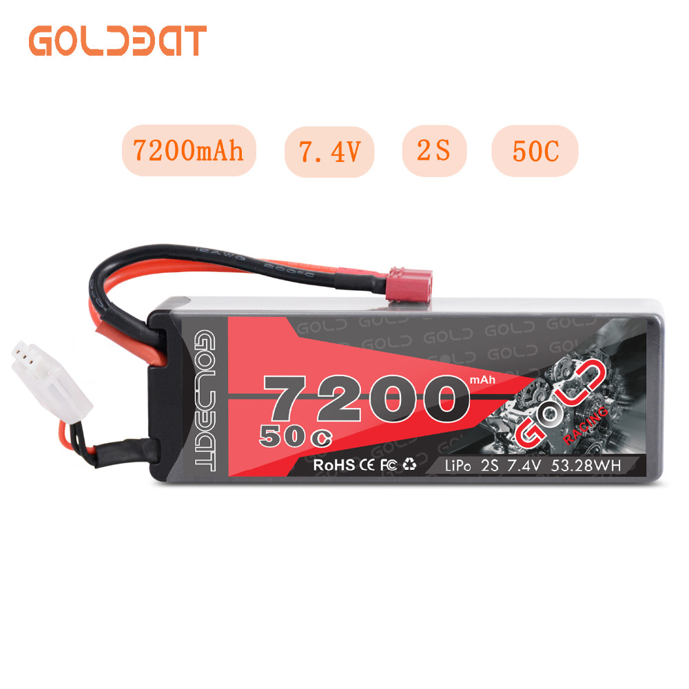 GOLDBAT 4S 2200mAh 14.8V 50C LiPo RC Battery with Deans Plug and XT60 Connector for RC Evader BX Car RC Truck RC Truggy RC Heli Airplane Drone