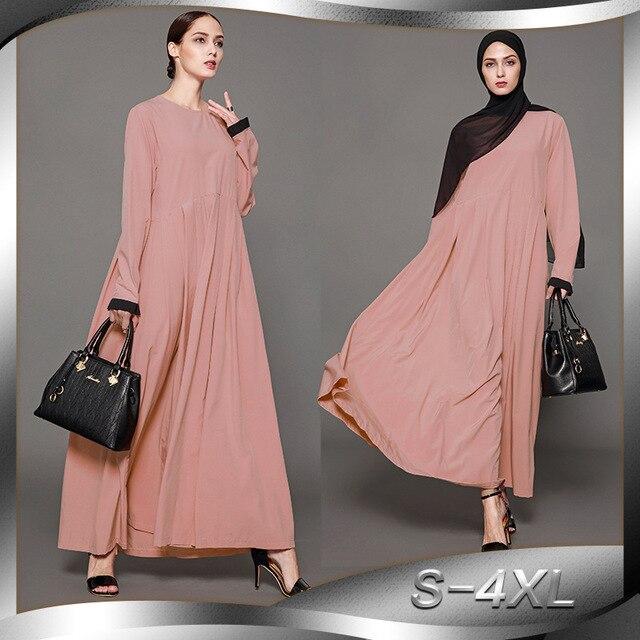 58d06bc9e2ba12 Nieuwe Moslim Vrouwen Lange Mouwen Hijab Jurk Maxi Abaya Jalabiya  Islamitische Kleding Gewaad Kaftan Marokkaanse Mode